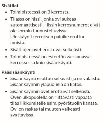 Tikkurilan lukion esteettömyystiedot Helsingin palvelukarttapalvelussa