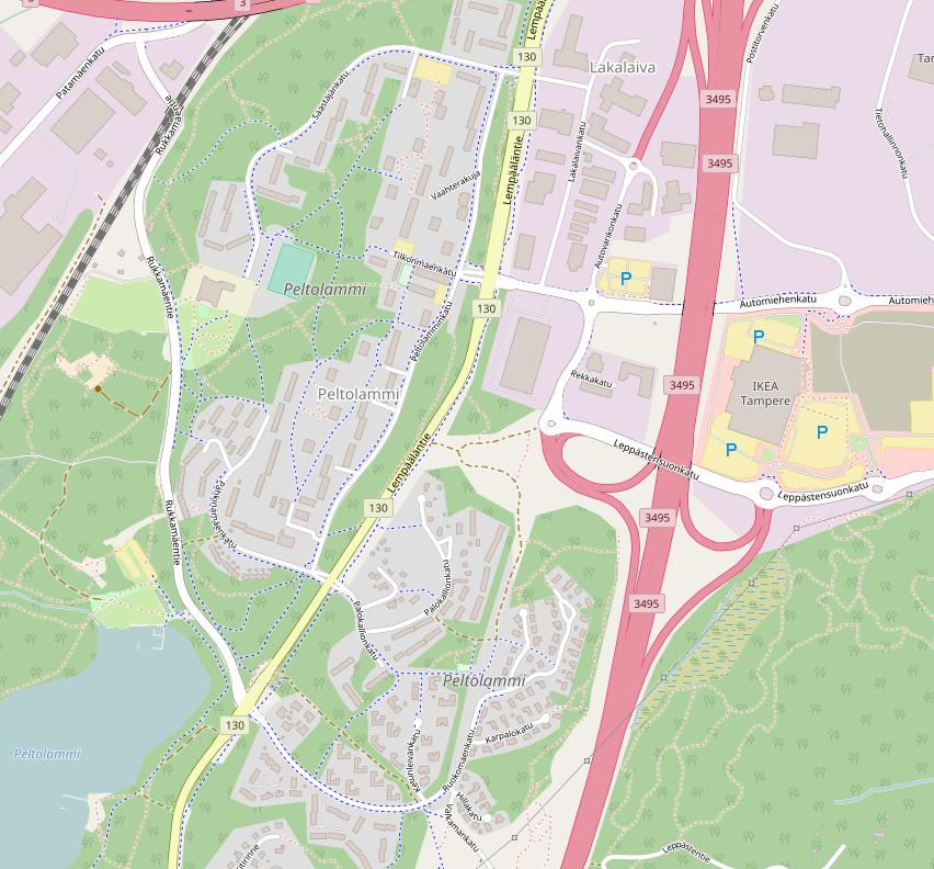 Kuvakaappaus Peltolammin alueesta Openstreetmap palvelussa