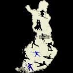 Suomen kartta johon aseteltu eri liikuntalajien symboleja